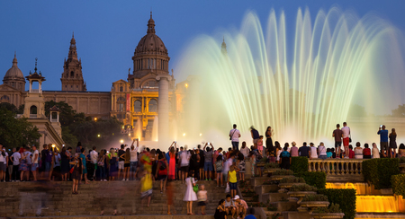 montjuic: BARCELONA, SPAIN - JULY 24, 2016: Night view of Fuente magica (The Magic fountains) in Barcelona at summertime, Catalonia