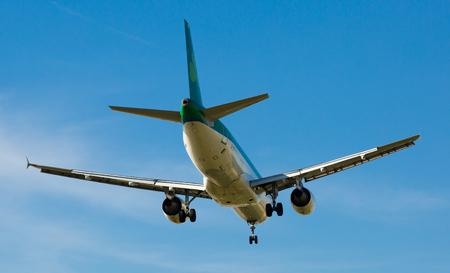 BARCELONA, SPAIN - MARCH 09, 2017:  Aer Lingus plane arriving at El Prat Airport on schedule. Barcelona, Catalonia Editorial