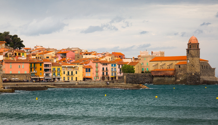 vermeil: Small and picturesque French village of Collioure on Mediterranean coast Editorial