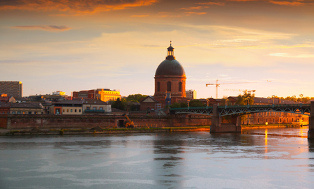 vermilion coast: Dome de la Grave - hospital of Toulouse in Southwest France on the bank of the Garonne. Stock Photo