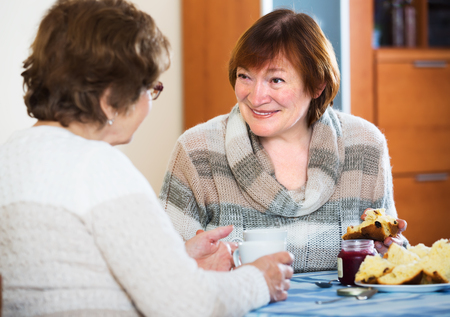 Smiling mature women having nice conversation while tea drinking indoors