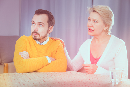 Mature mother tries to reconcile with his son and find out relationship