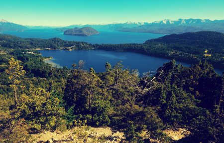 View of lakes Nahuel Huapi and slopes of mountain Cerro Campanario near Bariloche. Argentina, South America