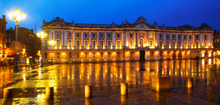 Capitol of Toulouse at night in the rain.