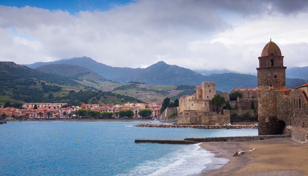 vermeil: Church of Notre-Dame de Anges and promenade in picturesque harbor of Collioure
