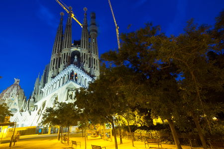 BARCELONA, SPAIN - JUNE 10, 2016: Basilica and Expiatory Church of the Holy Family (Sagrada Familia) in Barcelona at  night, Catalonia