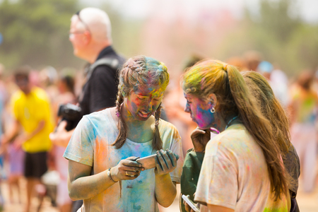 BARCELONA, SPAIN - MAY 28, 2017: The Holi festival in Santa Coloma de Gramenet which is in Spain.