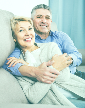 dulcet: Mature  american married couple understand and love each other and are happy in house Stock Photo