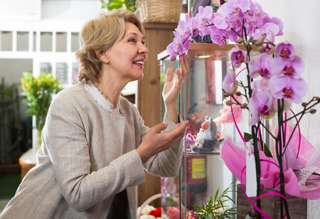 Smiling blonde senior woman contemplating orchids in floral shop