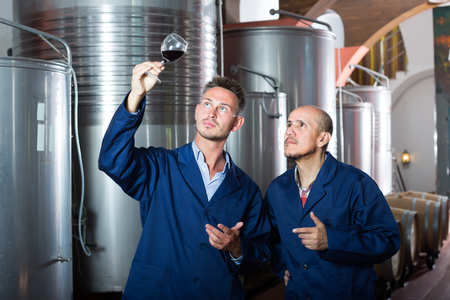 Two attentive men coworkers wearing uniform standing with glass of wine in fermenting section 스톡 콘텐츠