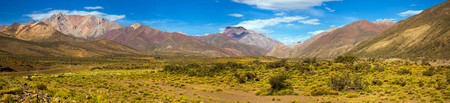 General view of the Andes from valley near Las Lenas in Argentina Stock Photo