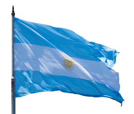 flagstaff: National flag of Argentine waving in the strong wind Stock Photo