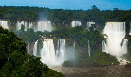 Complex of waterfalls (Cataratas del Iguazu) on Iguazu River on border of Brazil and Argentina
