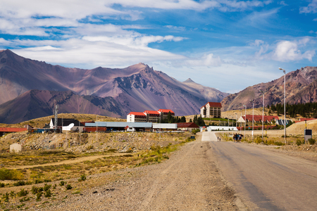 View of Las Lenas resort town in the Andes valley in Argentina
