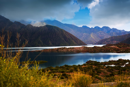 Lake view on Potrerillos reservoir and surrounding area in Mendoza province in Argentina