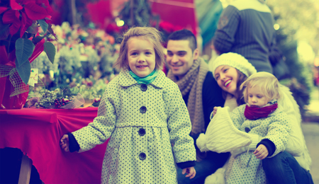 Positive  married couple with two children choosing Christmas star flower at market. photo