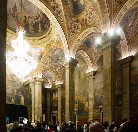 BARCELONA, SPAIN - APRIL 23, 2016: Interior of St. George Hall (Salon de San Jorge) in palace of Generalitat. Built in XVI-XVII century. Barcelona, Spain