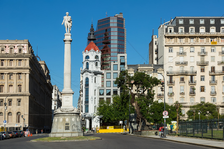 BUENOS AIRES, ARGENTINA - JANUARY 27, 2017: Obelisk (Obelisco de Buenos Aires) is modern monument and avenue on July 9 (Avenida Nueve de Julio) in Buenos Aires. Argentina, South America