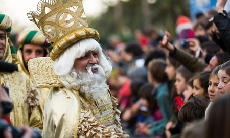 melchor: BARCELONA, SPAIN –  JANUARY 5, 2017: King-magician Melchor and his retinue take letters from children. Barcelona, Spain