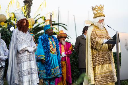 melchor: BARCELONA, SPAIN –  JANUARY 5, 2017: Three Kings joyfully greeting citizens and guests of Barcelona. Barcelona, Spain Editorial