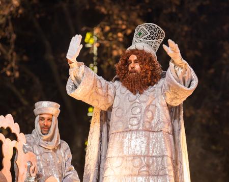 melchor: BARCELONA, SPAIN –  JANUARY 5, 2017: Festive cavalcade of Three Wise Kings around streets of Barcelona (Cabalgata de los Reyes Magos). Barcelona, Spain