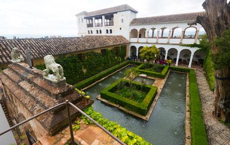 GRANADA, SPAIN - MAY 13, 2016: Palace of Generalife(Palacio de Generalife). Granada, Spain