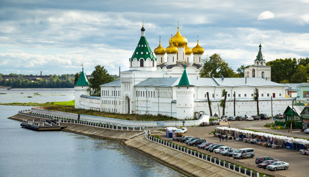 kostroma: KOSTROMA, RUSSIA - AUGUST 28, 2016: Peaceful view of Ipatievsky (Hypatian) Monastery and river in sunny day Editorial