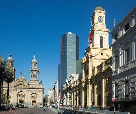 SANTIAGO, CHILE – FEBRUARY 11, 2017:  Picturesque view of Plaza de Armas in city downtown. Santiago, Chile Editorial