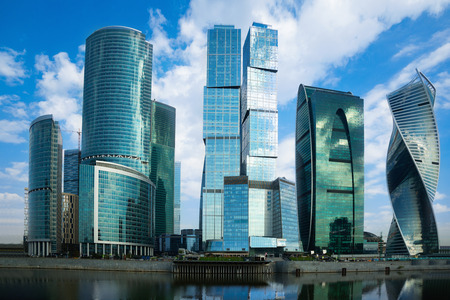 famous industries: MOSCOW, RUSSIA – AUGUST 22, 2016: business complex of moscow city with modern futuristic architecture