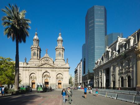 SANTIAGO, CHILE - FEBRUARY 11, 2017: Plaza de Armas Square in center of Santiago with historical buildings. Santiago, Chile