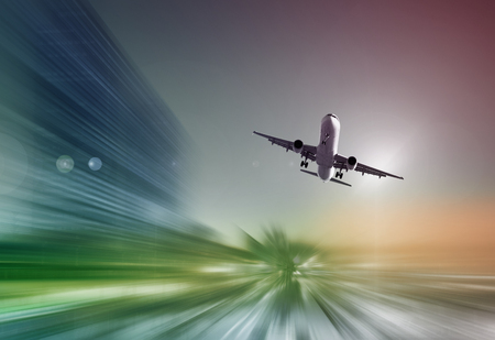 quickness: Airplane flying with dynamic colorful motion blur abstract background