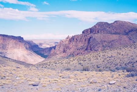 suelo arenoso: Top view on the Pinturas River Canyon in Santa Cruz province in Patagonia area Foto de archivo