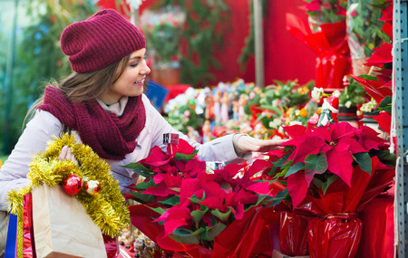 overspending: Pretty smiling young woman buying floral compositions at Christmas market Stock Photo