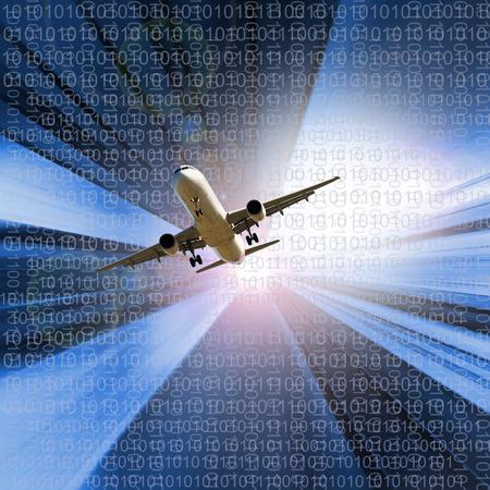 Modern en technologisch beeld van een vliegtuig in de lucht