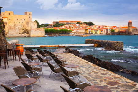 Colors french town and castle Collioure part of the coast Vermillion Stock Photo