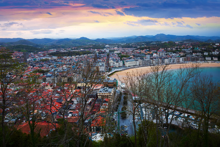 Panorama of   San Sebastian  in  twilight. Basque Country, Spain