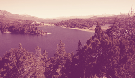 Top view on Lago Nahuel Huapi and Cerro Campanario in distance in Argentina Reklamní fotografie