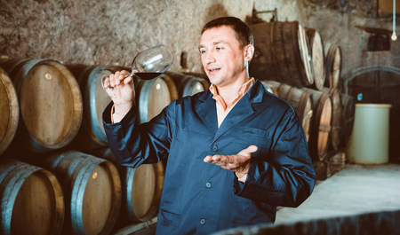 Professional taster posing with glass of wine in winery cellar