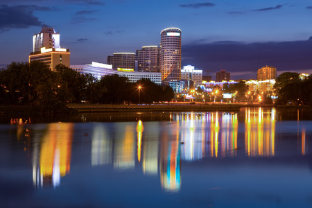residential area: MINSK, BELARUS - SEPTEMBER 03, 2016: Svislac river embankment. Minsk, Belarus Editorial