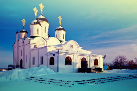 Spassky Cathedral of Holy Transfiguration Monastery at Murom in winter. Russia