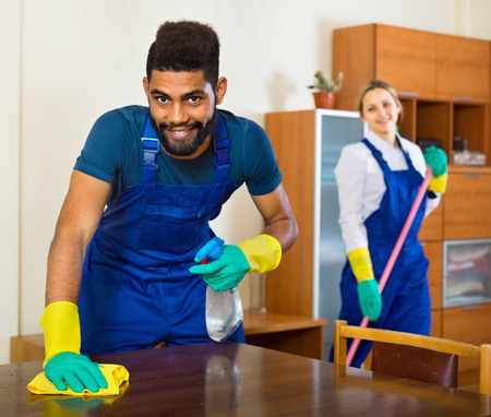 african business: Positive cleaners cleaning and dusting in ordinary house