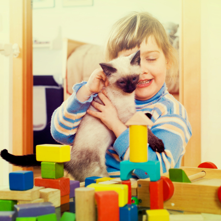 3 years child  with kitten in home interior