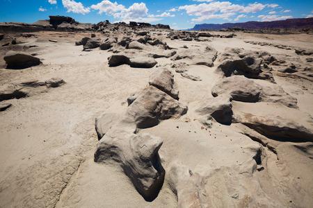 風景と石形成の Ischigualasto 州立公園、アンデスの麓。アルゼンチン、パタゴニア