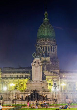 congress center: National Congress of Argentina Palace and monument of two congresses with night illumination, Congress Square, Buenos Aires Editorial
