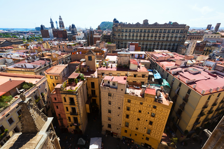 Barcelona - Barrio Gotico from Santa Maria del mar. Catalonia