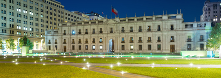 politic: Palace La Moneda in Santiago, residence of President of Chile with evening illumination, Santiago