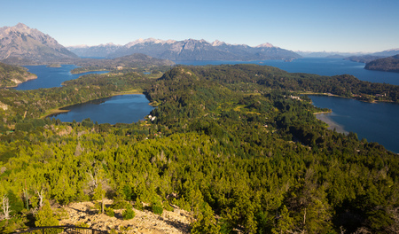 General view of spectacular Lago Nahuel Huapi and Cerro Campanario in Argentina