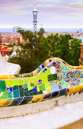 Close up view of Park Guell in Barcelona, Spain.  Park was designed by Antoni Gaudi and built in 1900 to 1914. Now it is city park