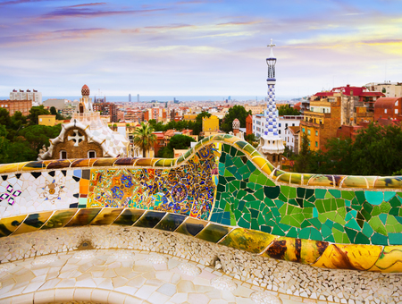 Park Guell in  Barcelona, Spain.  Park was designed by Antoni Gaudi and built in 1900 to 1914. Now it is city park Editorial