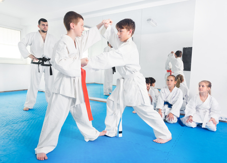 Pair of little boys practicing new karate moves during the class in gym Stock Photo